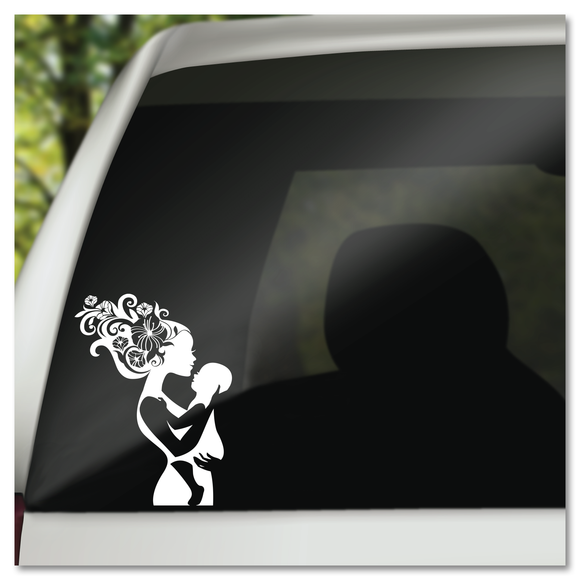 Mother Nature & Baby Flowers In Her Hair Boho Vinyl Decal Sticker
