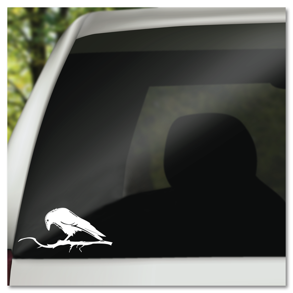 Raven Blackbird on Branch Halloween Edgar Allen Poe Vinyl Decal Sticker