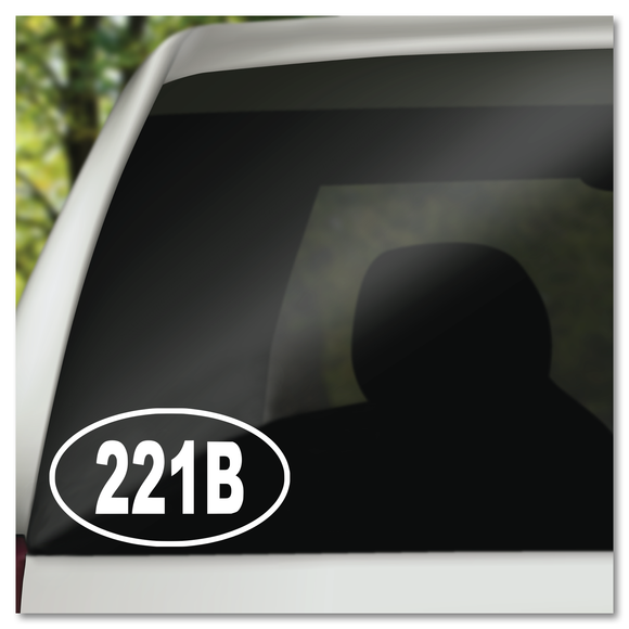 Sherlock 221B in Oval Vinyl Decal Sticker