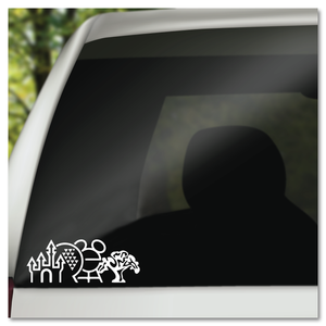 WDW 4 Parks Icons Walt Disney World Vinyl Decal Sticker