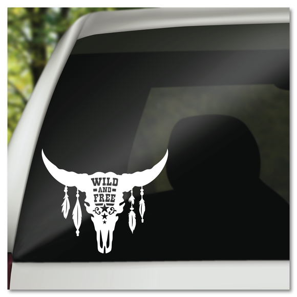 Wild & Free Boho Steer Skull with Feathers Vinyl Decal Sticker