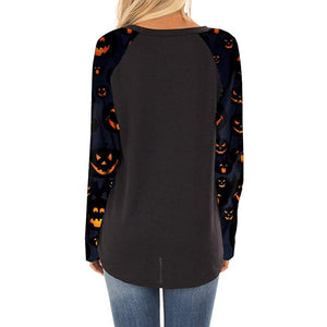 Halloween Print Women Crewneck  Long Sleeve Casual Pullovers