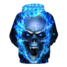 Load image into Gallery viewer, Ghost Fire Skull Print Pullover Hoodie Sweatshirt