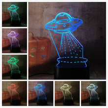 Load image into Gallery viewer, UFO Alien Spacecraft Acrylic 3D RGB Night Lights - USB LED Sleep Table Lamp with Remote