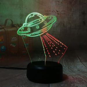 UFO Alien Spacecraft Acrylic 3D RGB Night Lights - USB LED Sleep Table Lamp with Remote
