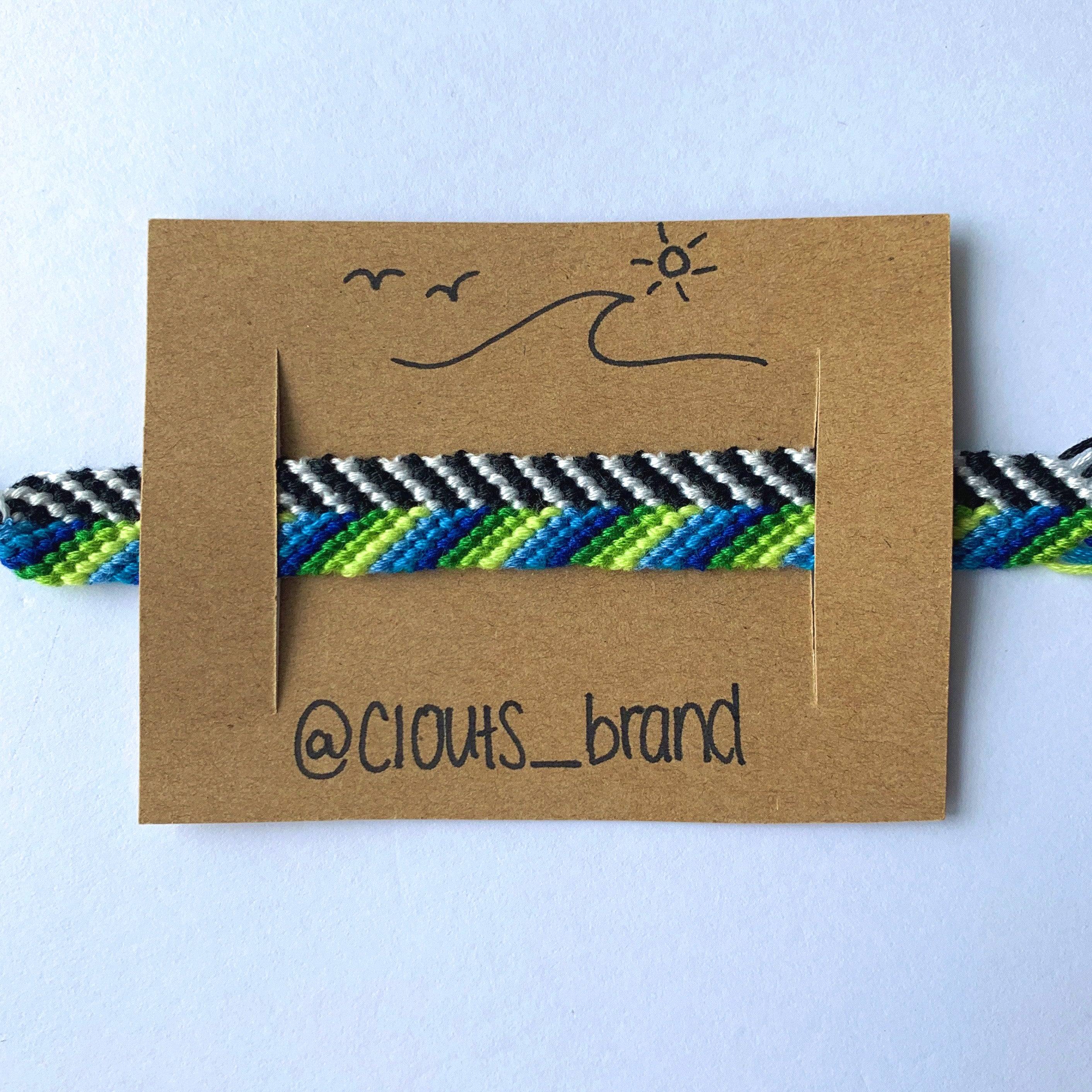 Striped blue & green bracelet