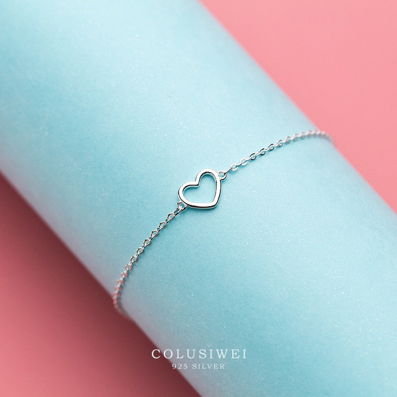Womens Sterling Silver Heart Link Chain Bracelet