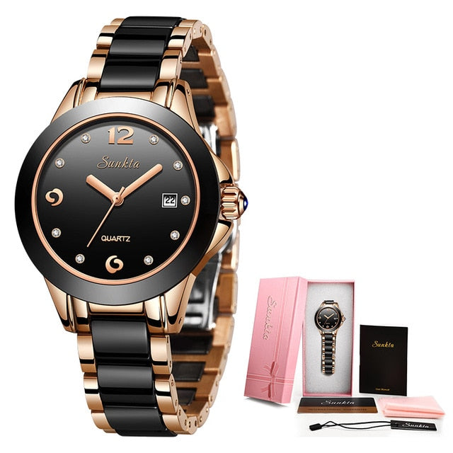 Womens Top Brand Watch Inlaid With Crystal Diamonds
