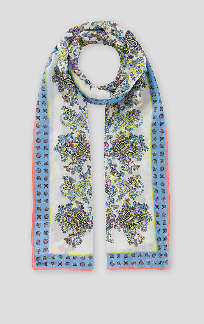 ESCADA Cotton Silk Paisley Print Scarf