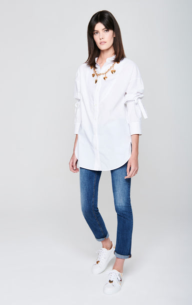 ESCADA Cotton Poplin Tie-Sleeve Shirt
