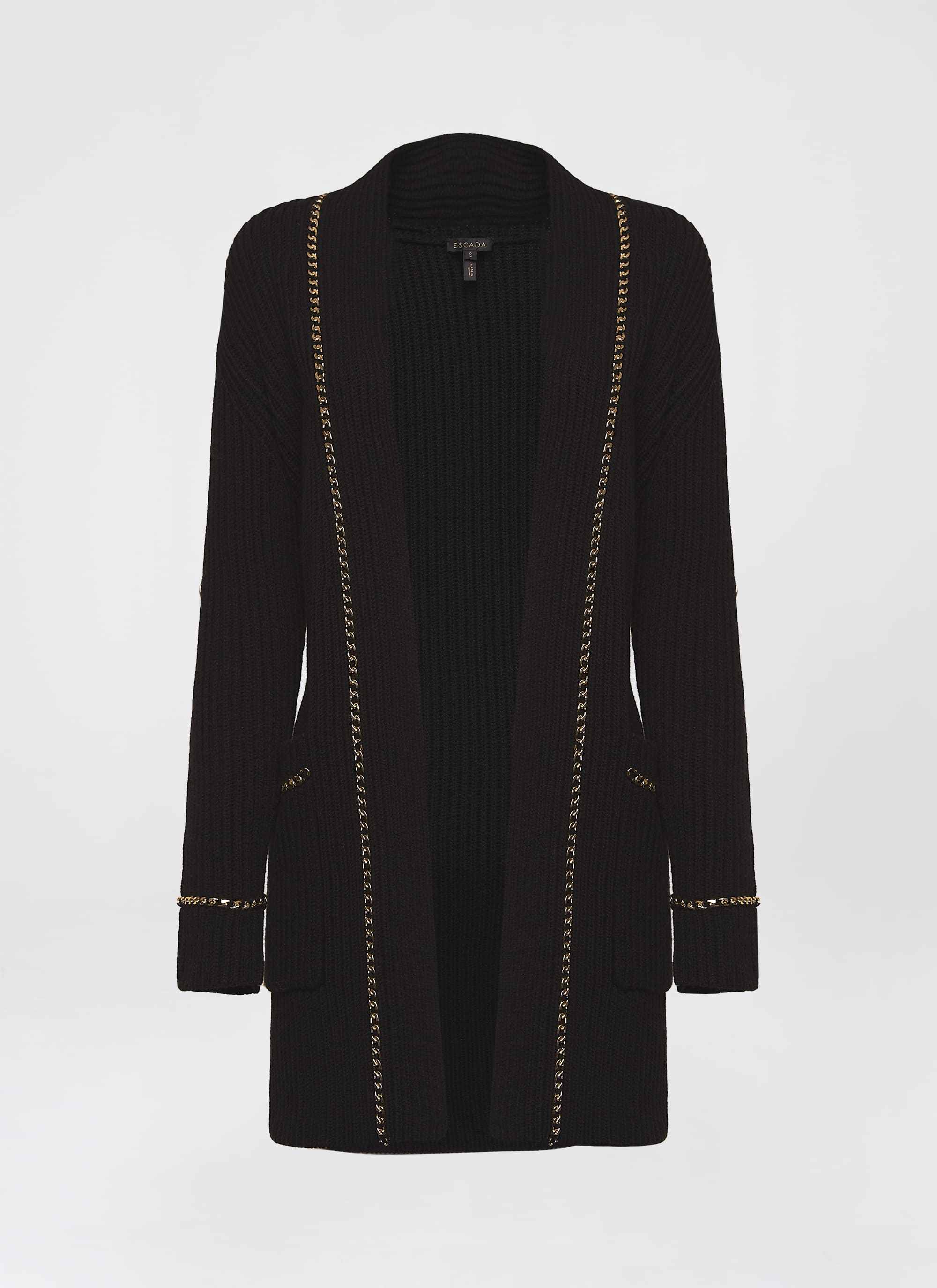Wool cashmere cardigan with chain detail - ESCADA