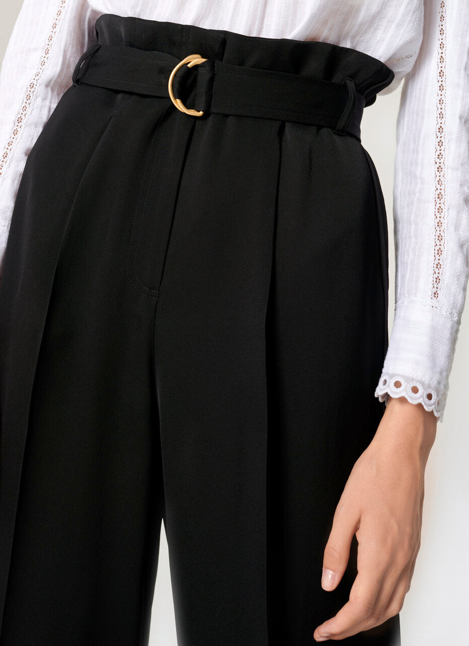ESCADA Crepe Belted Wide-Leg Pants
