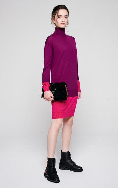 Wool Color Block Sweater Dress - ESCADA