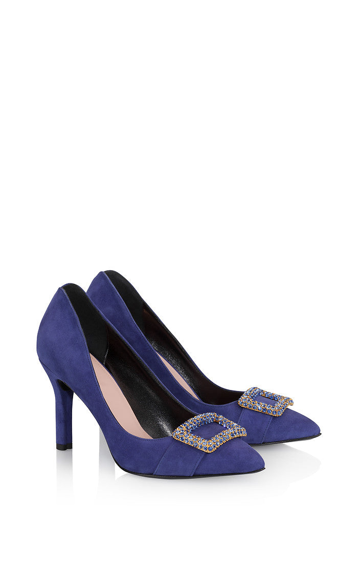 Suede Embellished Pumps - ESCADA