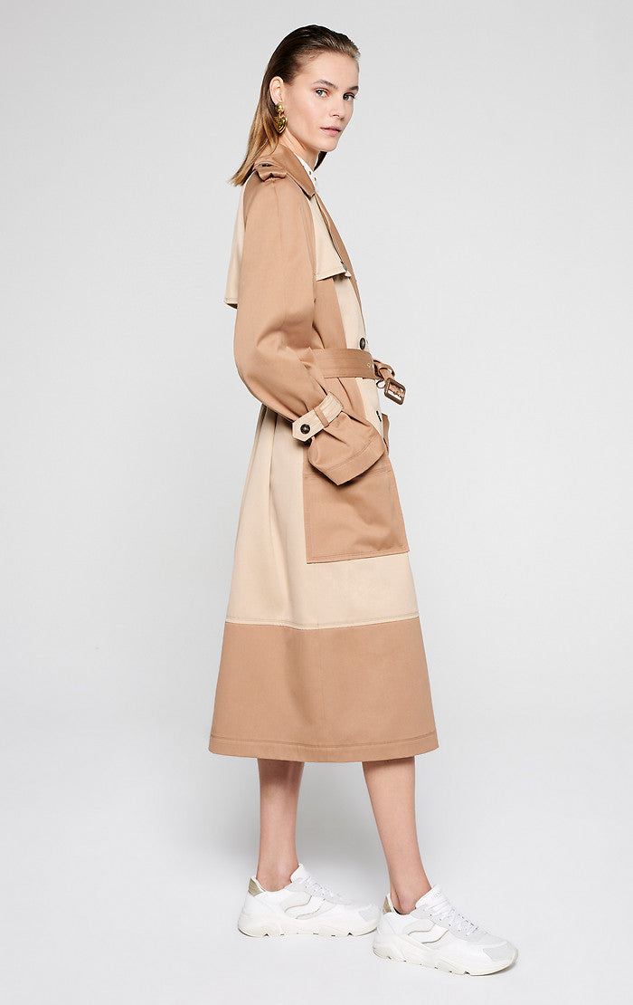 Gabardine Two-Tone Trench Coat - ESCADA