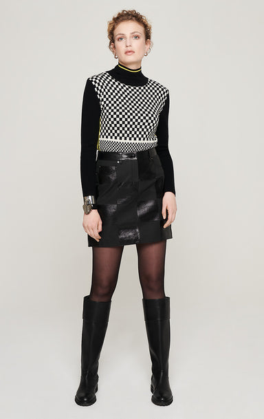 ESCADA Leather Checkerboard Skirt