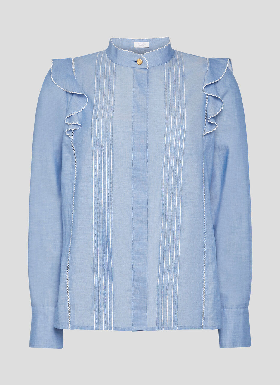ESCADA Cotton Chambray Ruffle Blouse