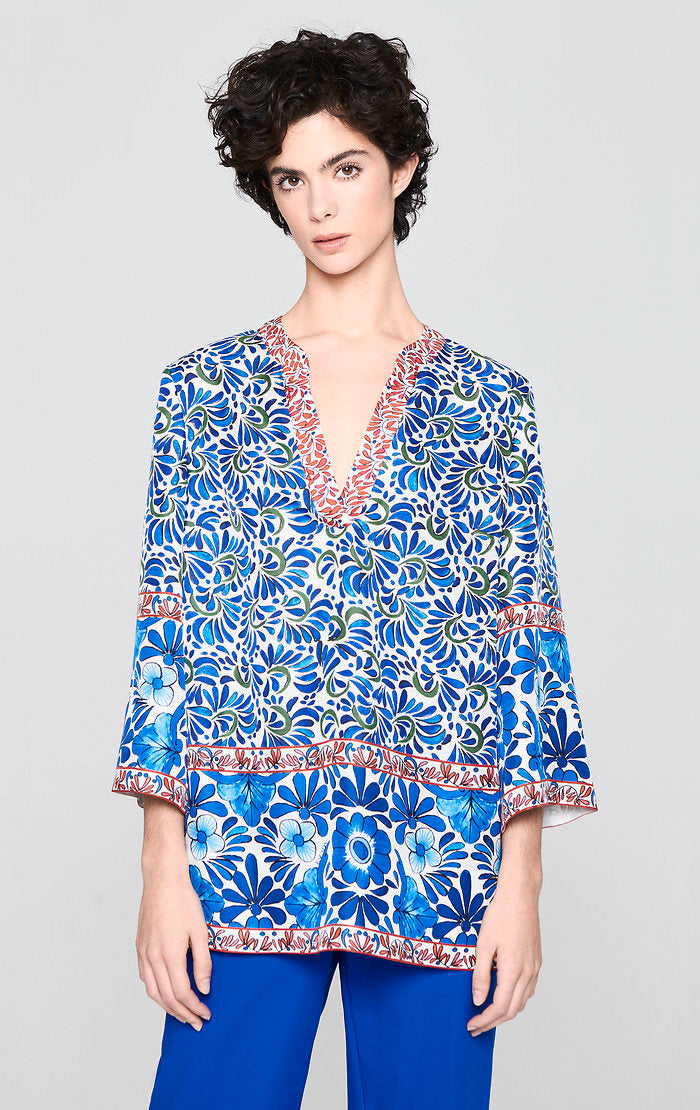 Silk Printed Tunic Top