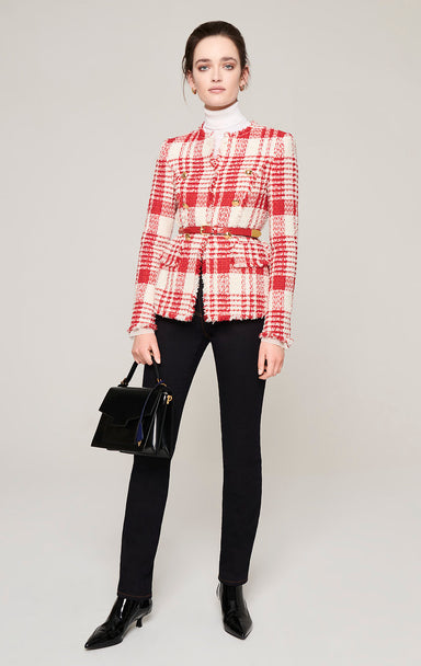 Check Tweed Button-Detail Jacket - ESCADA