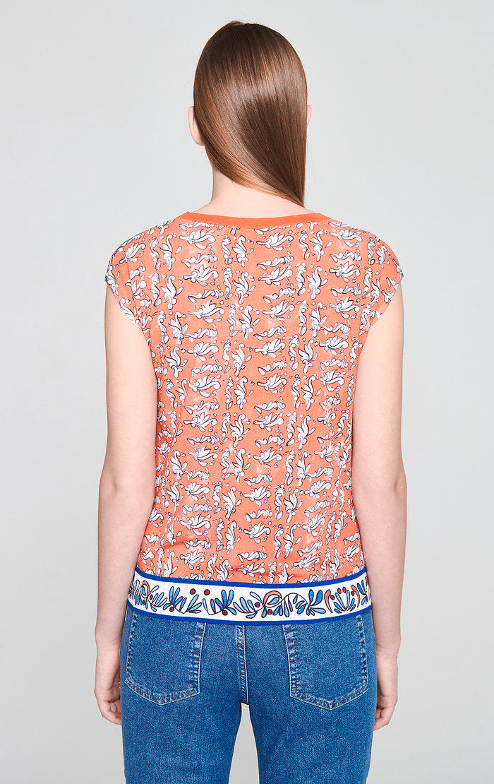 Cotton Blend Printed Knit Top