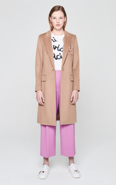ESCADA Wool Long Coat with Crystal Brooch