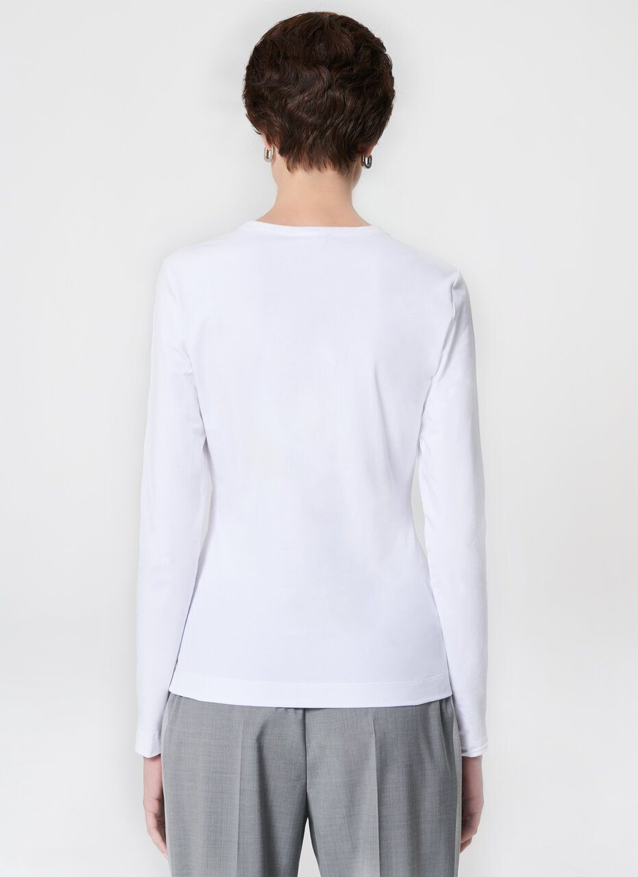 Embroidered Cotton Stretch T-Shirt - ESCADA