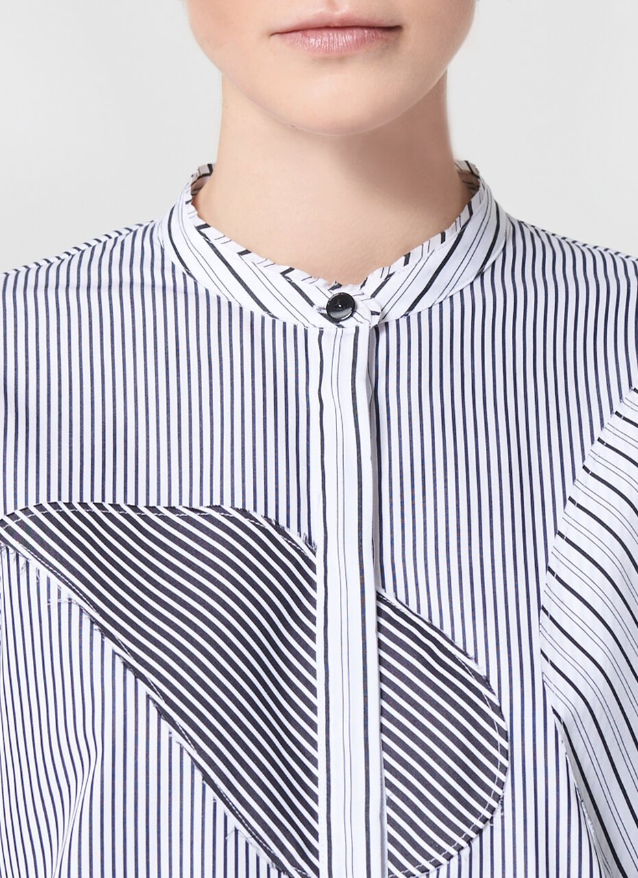 ESCADA Fabric Mix Striped Cotton Poplin