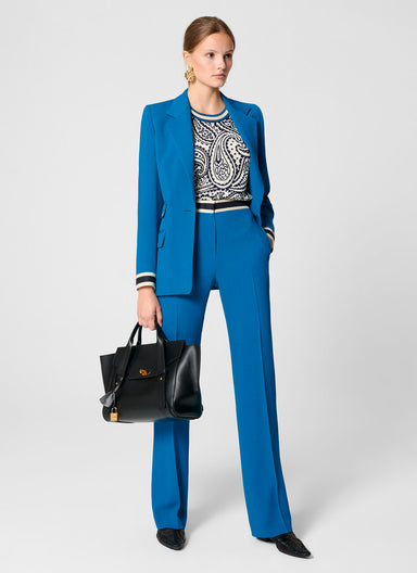 Wool Blend Contrast Trim Pants - ESCADA