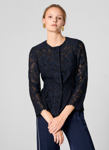 Cotton Blend Lace Jacket - ESCADA