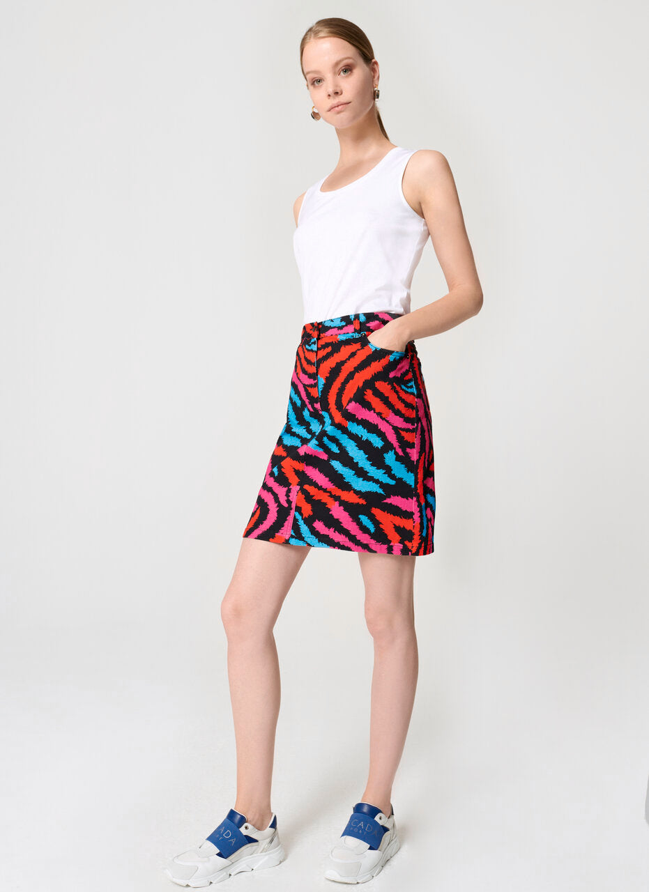 Zebra Print Denim Skirt - ESCADA