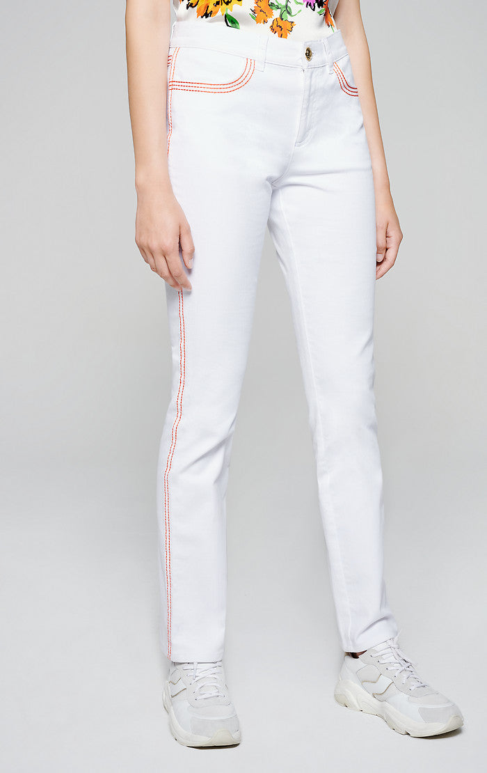 Contrast Trim Straight Jeans - ESCADA