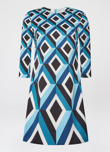 Luxurious jacquard dress in graphic diamond design - ESCADA