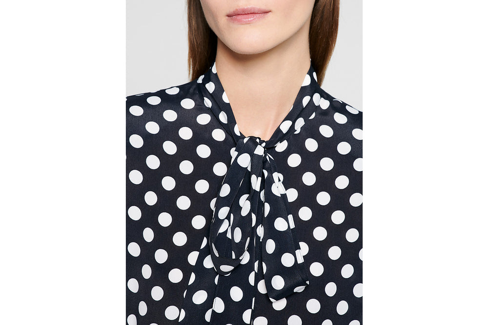 ESCADA Silk Blend Tie Neck Blouse