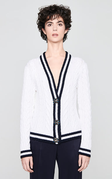Virgin Wool Jewel Button Cardigan - ESCADA