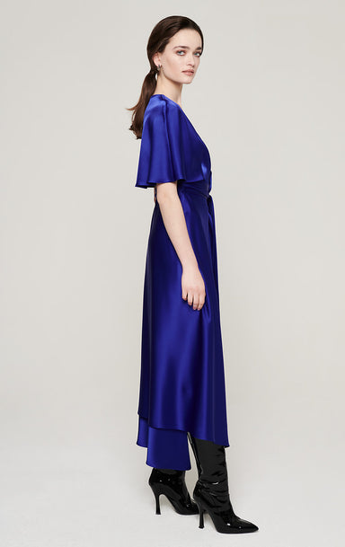 Satin Cape-Sleeve Wrap Dress - ESCADA