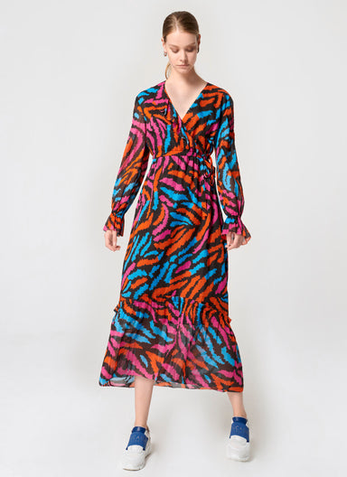 Zebra Print Ruffle Maxi Dress - ESCADA