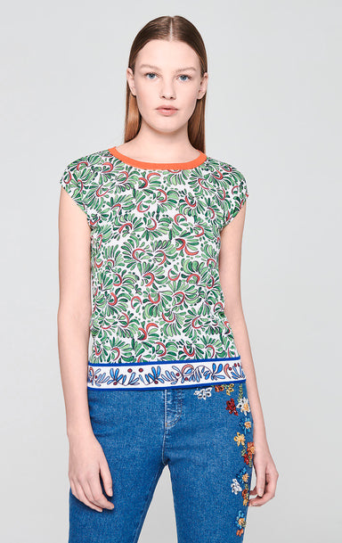 Cotton Blend Printed Knit Top - ESCADA