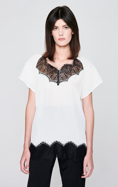 ESCADA Lace-Trimmed Silk Top