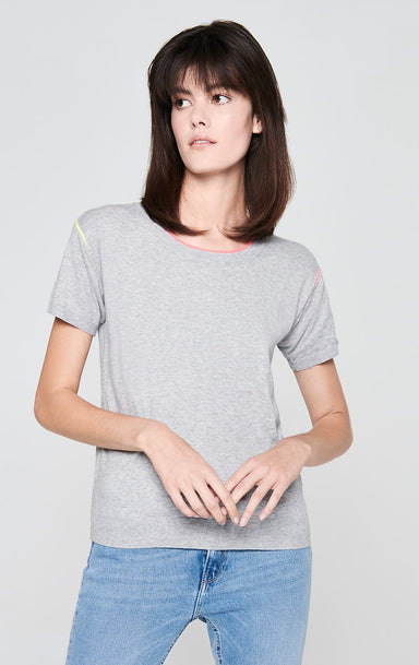 ESCADA Short-Sleeve Contrast Trim Sweater