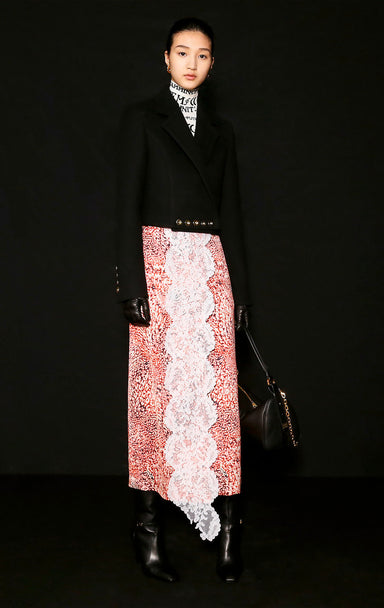 ESCADA Residency Collection - Printed Satin and Lace Skirt