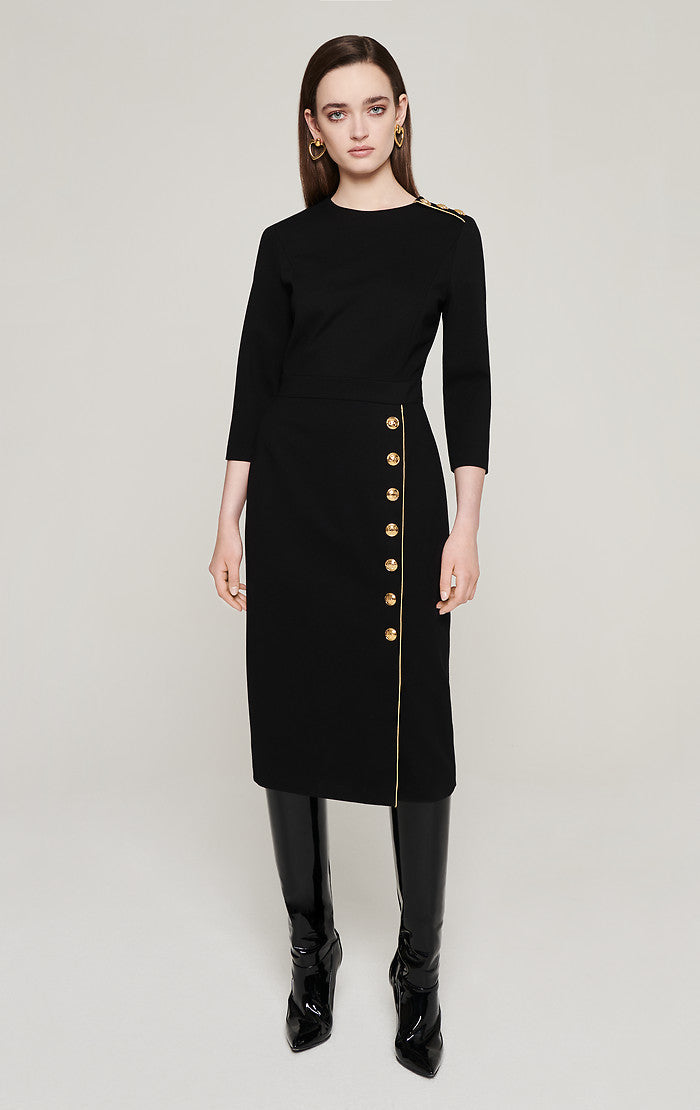 ESCADA Jersey Button-Detail Midi Dress