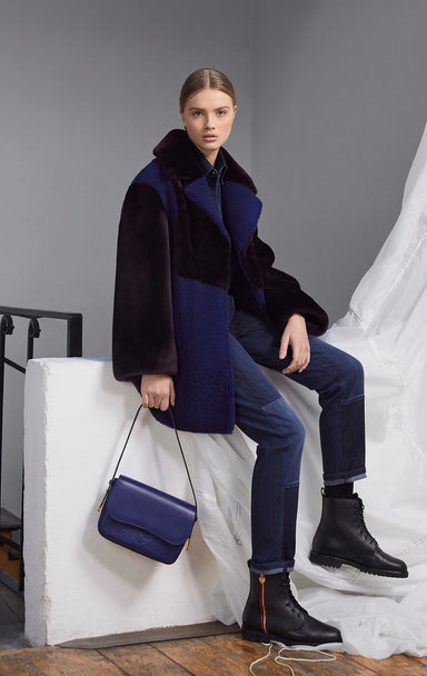 ESCADA Shearling Two-Tone Coat