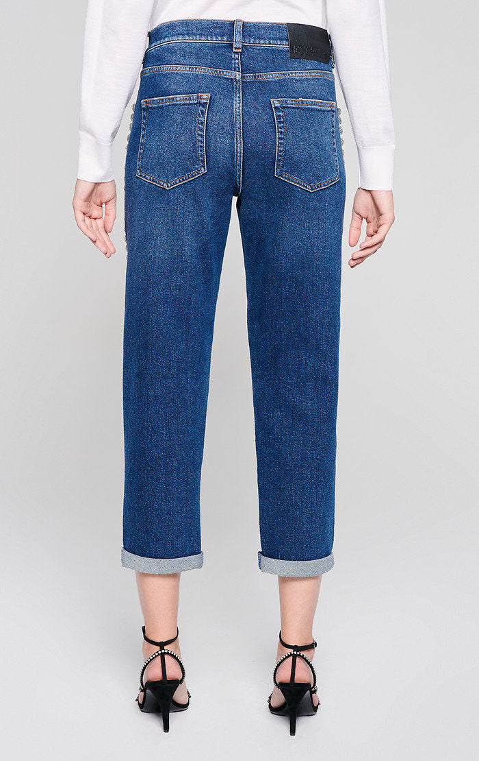 Jewel-Embellished Boyfriend Jeans - ESCADA