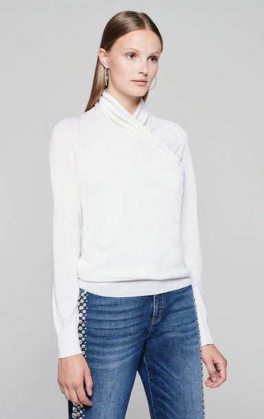 Wool Silk Wrap-Over Sweater - ESCADA