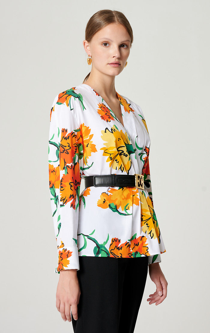 ESCADA Cotton Printed Peplum Blouse