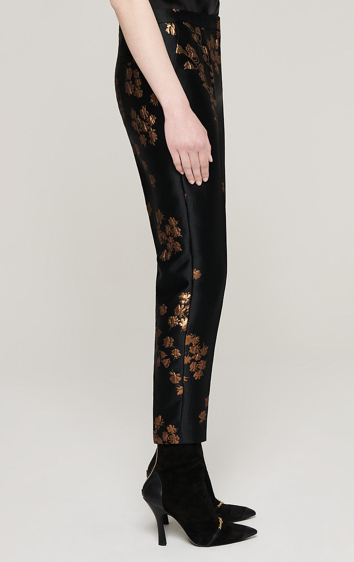 ESCADA Floral Metallic Jacquard Pants