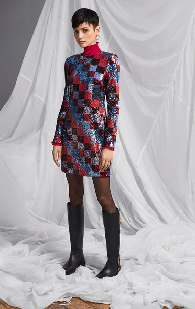 ESCADA Sequin Checkerboard Dress