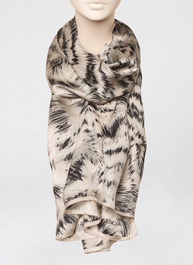 Feather fur print silk scarf - ESCADA