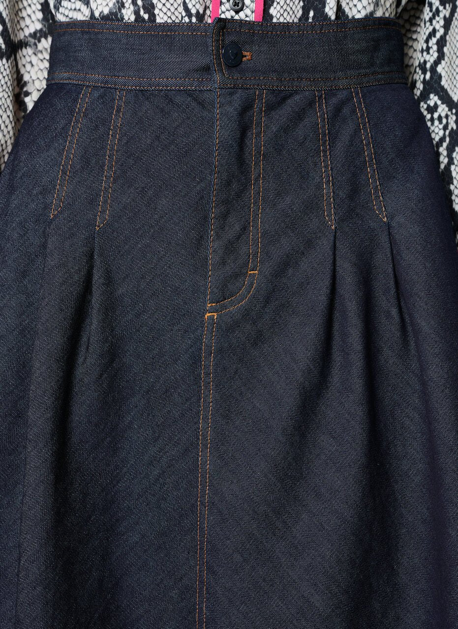 Blue Cotton Stretch Denim Skirt - ESCADA