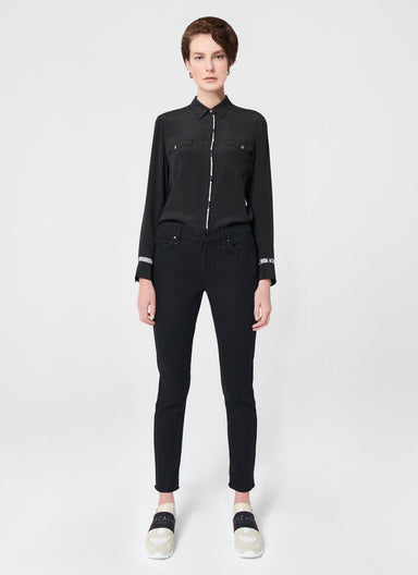 Rhinestone Decoration Black Denim - ESCADA